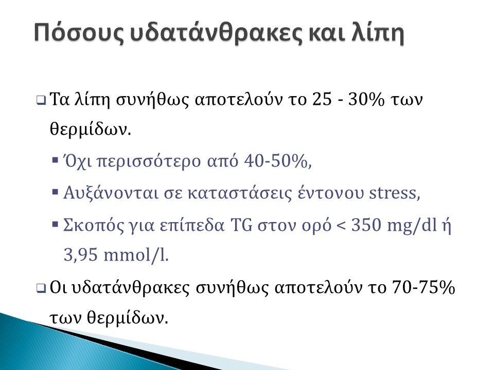  Τα λίπη συνήθως αποτελούν το 25 - 30% των θερμίδων.