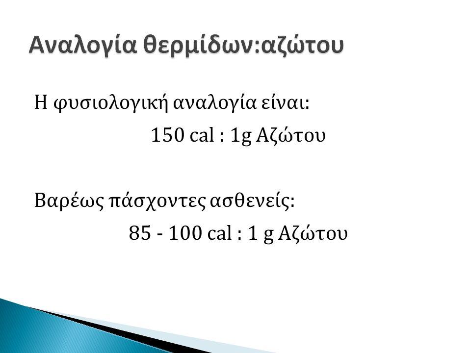 Η φυσιολογική αναλογία είναι: 150 cal : 1g Αζώτου Βαρέως πάσχοντες ασθενείς: 85 - 100 cal : 1 g Αζώτου