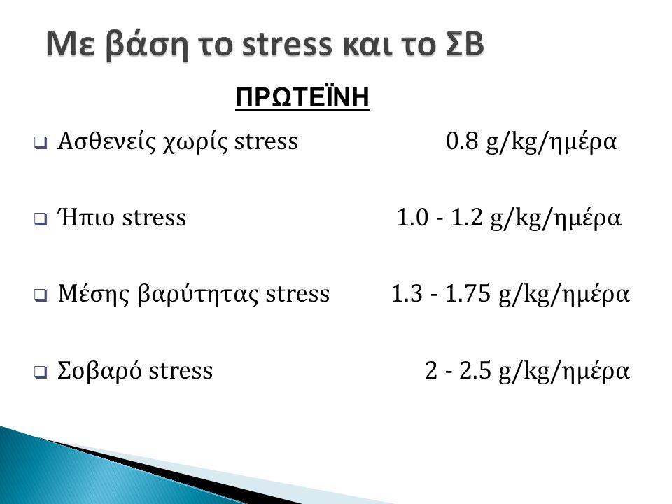  Ασθενείς χωρίς stress 0.8 g/kg/ημέρα  Ήπιο stress 1.0 - 1.2 g/kg/ημέρα  Μέσης βαρύτητας stress 1.3 - 1.75 g/kg/ημέρα  Σοβαρό stress 2 - 2.5 g/kg/ημέρα ΠΡΩΤΕΪΝΗ