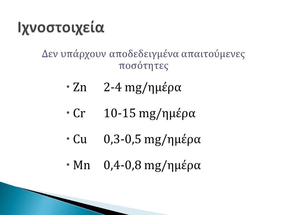 Δεν υπάρχουν αποδεδειγμένα απαιτούμενες ποσότητες  Zn2-4 mg/ημέρα  Cr10-15 mg/ημέρα  Cu0,3-0,5 mg/ημέρα  Mn0,4-0,8 mg/ημέρα