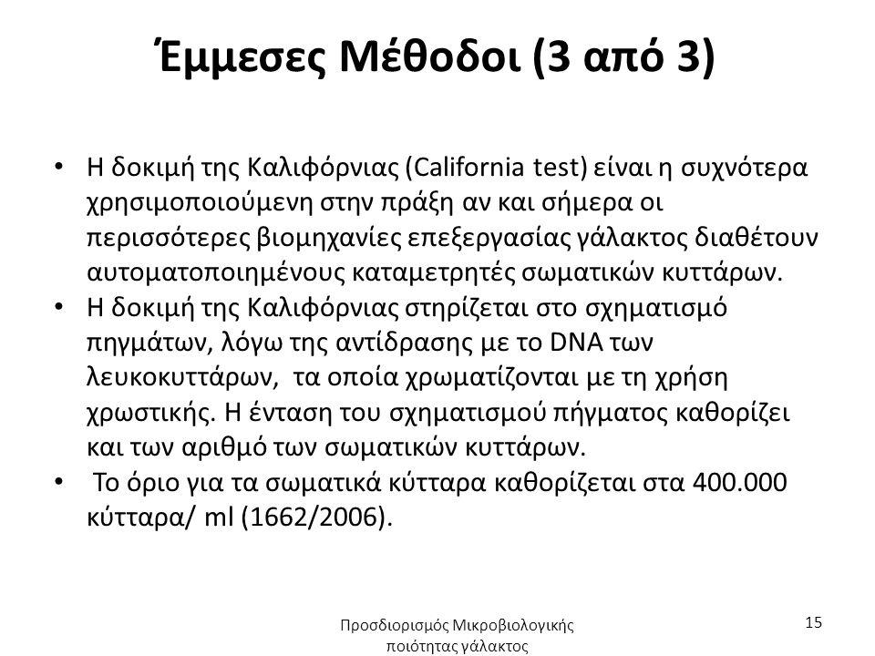 Έμμεσες Μέθοδοι (3 από 3) Η δοκιμή της Καλιφόρνιας (California test) είναι η συχνότερα χρησιμοποιούμενη στην πράξη αν και σήμερα οι περισσότερες βιομηχανίες επεξεργασίας γάλακτος διαθέτουν αυτοματοποιημένους καταμετρητές σωματικών κυττάρων.