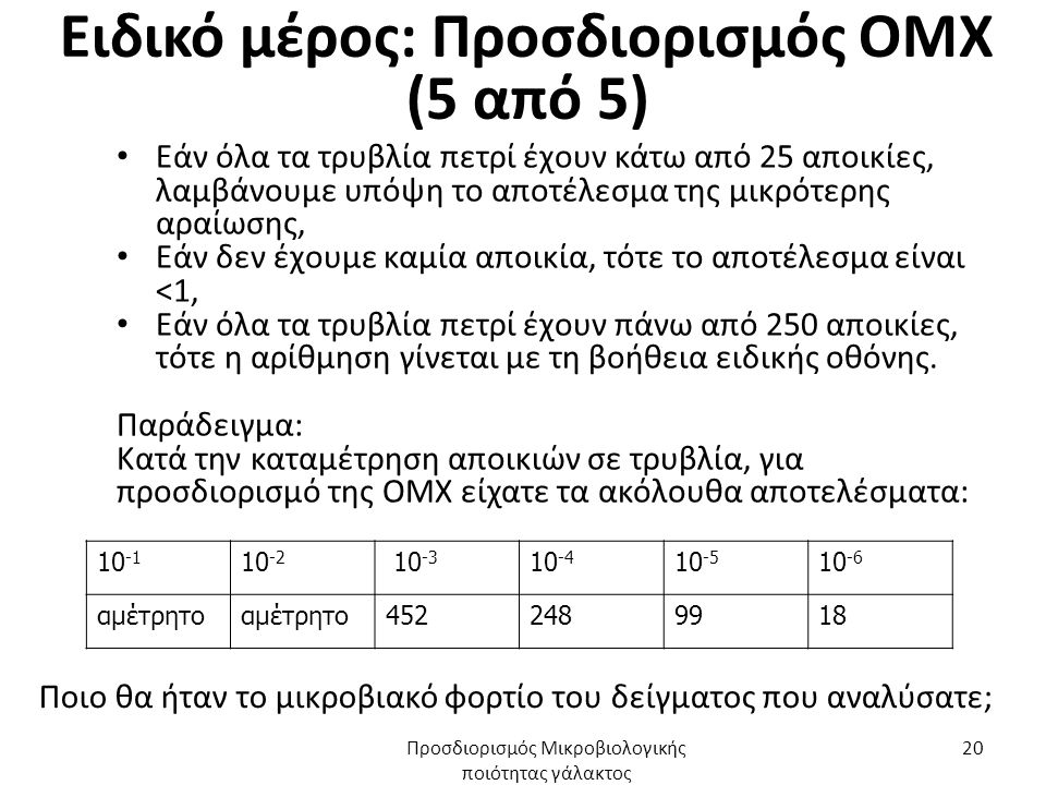 Ειδικό μέρος: Προσδιορισμός ΟΜΧ (5 από 5) Εάν όλα τα τρυβλία πετρί έχουν κάτω από 25 αποικίες, λαμβάνουμε υπόψη το αποτέλεσμα της μικρότερης αραίωσης, Εάν δεν έχουμε καμία αποικία, τότε το αποτέλεσμα είναι <1, Εάν όλα τα τρυβλία πετρί έχουν πάνω από 250 αποικίες, τότε η αρίθμηση γίνεται με τη βοήθεια ειδικής οθόνης.