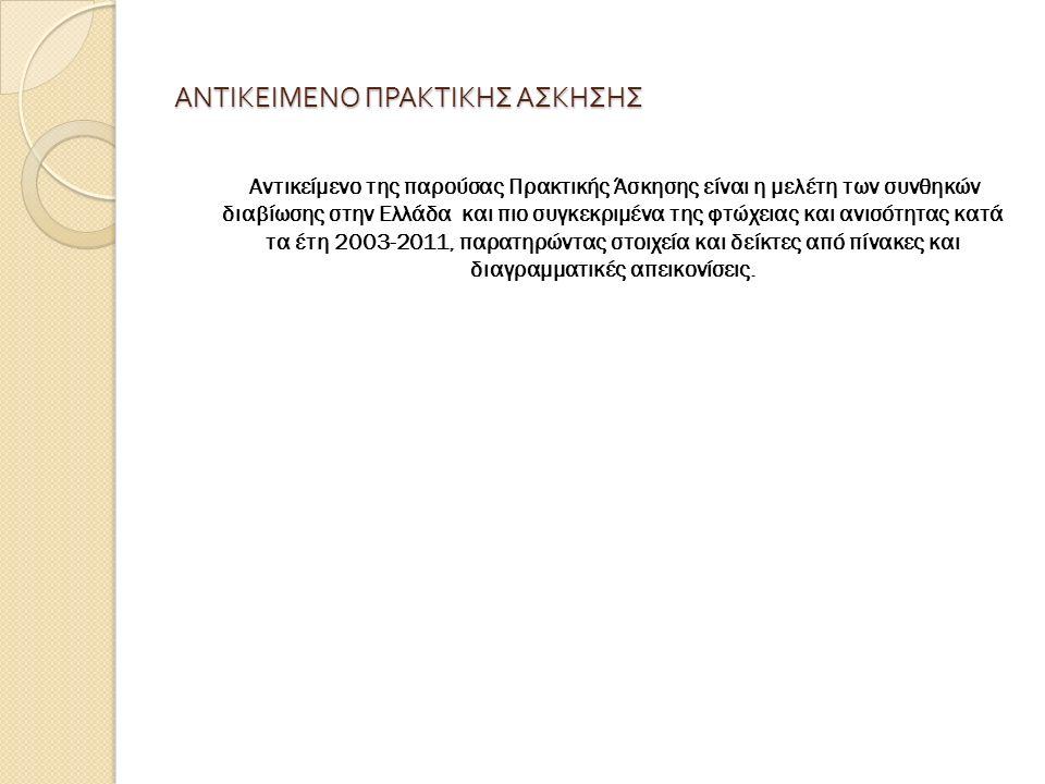 ΑΝΤΙΚΕΙΜΕΝΟ ΠΡΑΚΤΙΚΗΣ ΑΣΚΗΣΗΣ Αντικείμενο της παρούσας Πρακτικής Άσκησης είναι η μελέτη των συνθηκών διαβίωσης στην Ελλάδα και πιο συγκεκριμένα της φτώχειας και ανισότητας κατά τα έτη 2003-2011, παρατηρώντας στοιχεία και δείκτες από πίνακες και διαγραμματικές απεικονίσεις.