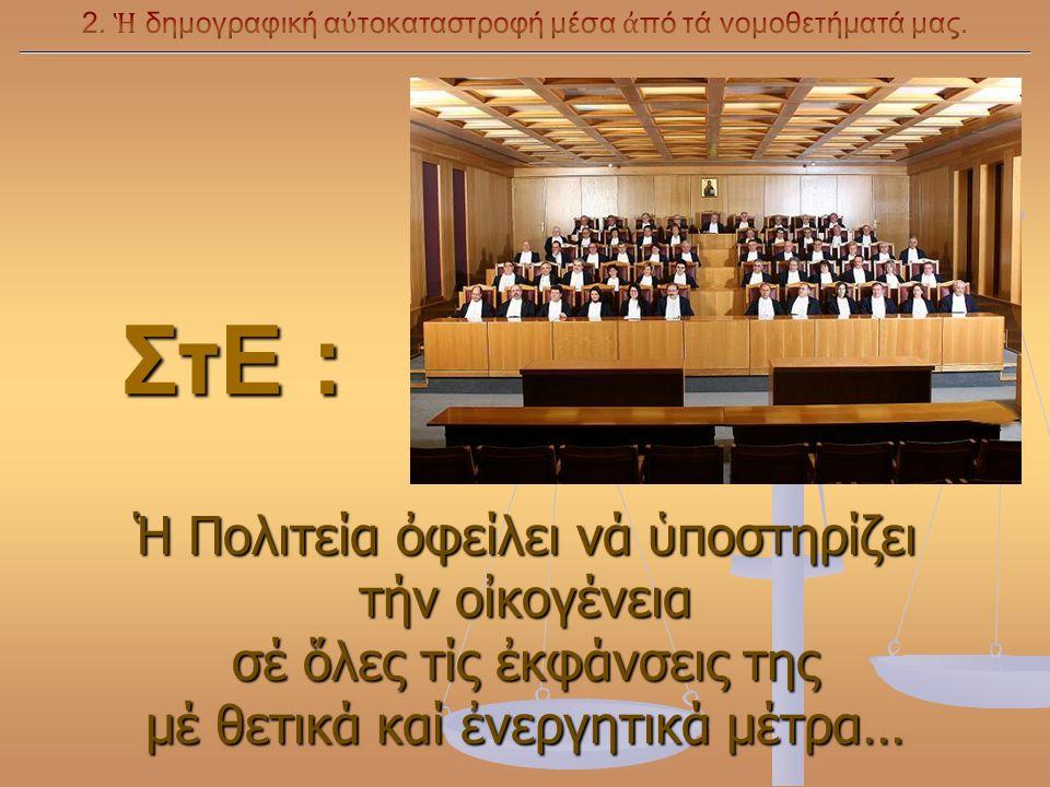 ΣτΕ : ΣτΕ : Ἡ Πολιτεία ὀφείλει νά ὑποστηρίζει τήν οἰκογένεια σέ ὅλες τίς ἐκφάνσεις της μέ θετικά καί ἐνεργητικά μέτρα…