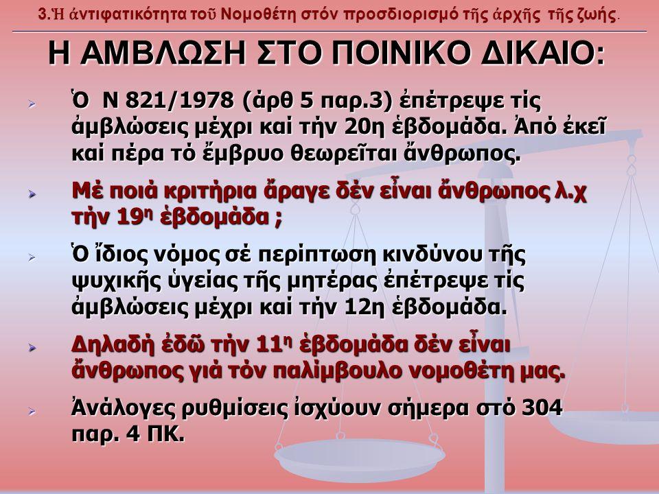 Η ΑΜΒΛΩΣΗ ΣΤΟ ΠΟΙΝΙΚΟ ΔΙΚΑΙΟ:  Ὁ Ν 821/1978 (άρθ 5 παρ.3) ἐπέτρεψε τίς ἀμβλώσεις μέχρι καί τήν 20η ἑβδομάδα.