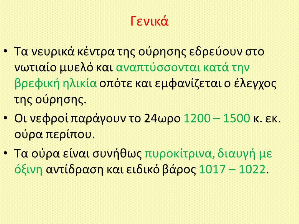 Kαταστάσεις με παθολογικά συστατικά των ούρων Λευκωματουρία (παρουσία στα ούρα λευκώματος) Γλυκοζουρία (ανίχνευση γλυκόζης στα ούρα) Κετονουρία (ύπαρξη κετονικών σωμάτων στα ούρα) Φαινυλκετονουρία (ύπαρξη φαινυλπυροσταφυλικού οξέως στα ούρα) Αιματουρία (ύπαρξη ερυθρών αιμοσφαιρίων στα ούρα) Πυουρία (ύπαρξη λευκών αιμοσφαιρίων στα ούρα) Κυλινδρουρία (ύπαρξη κυλίνδρων στα ούρα)