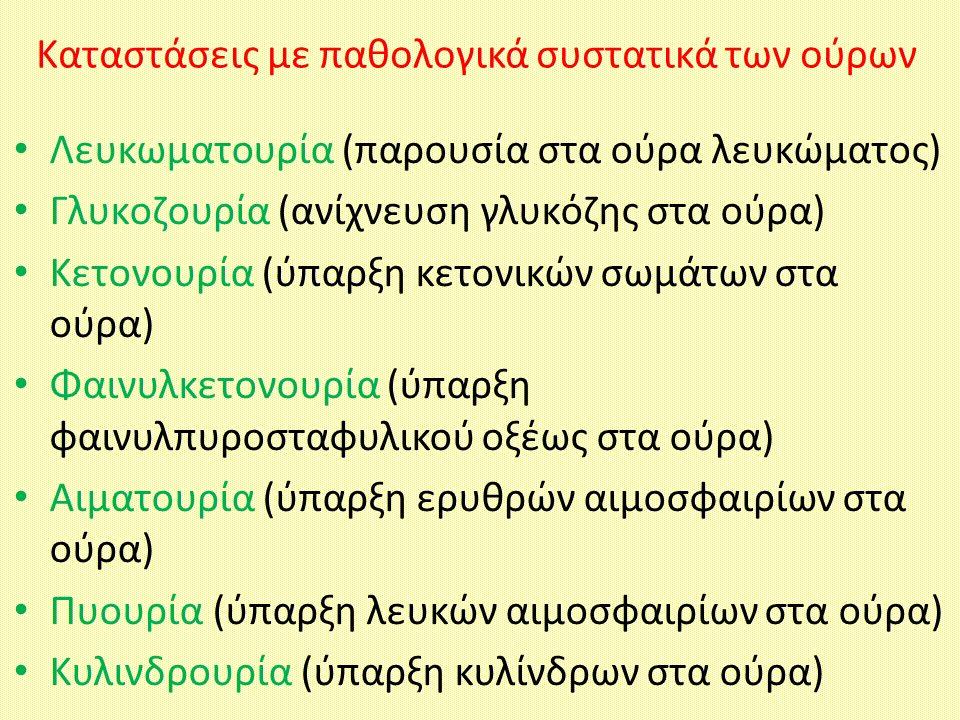 Kαταστάσεις με παθολογικά συστατικά των ούρων Λευκωματουρία (παρουσία στα ούρα λευκώματος) Γλυκοζουρία (ανίχνευση γλυκόζης στα ούρα) Κετονουρία (ύπαρξ