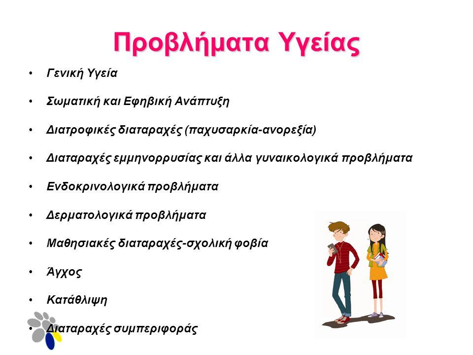 Προβλήματα Υγείας Γενική Υγεία Σωματική και Εφηβική Ανάπτυξη Διατροφικές διαταραχές (παχυσαρκία-ανορεξία) Διαταραχές εμμηνορρυσίας και άλλα γυναικολογικά προβλήματα Ενδοκρινολογικά προβλήματα Δερματολογικά προβλήματα Μαθησιακές διαταραχές-σχολική φοβία Άγχος Κατάθλιψη Διαταραχές συμπεριφοράς