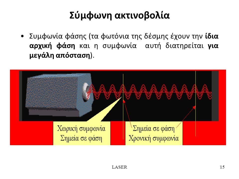 LASER15 Σύμφωνη ακτινοβολία Συμφωνία φάσης (τα φωτόνια της δέσμης έχουν την ίδια αρχική φάση και η συμφωνία αυτή διατηρείται για μεγάλη απόσταση).