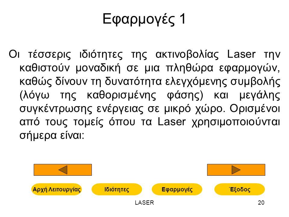 LASER20 Εφαρμογές 1 Οι τέσσερις ιδιότητες της ακτινοβολίας Laser την καθιστούν μοναδική σε μια πληθώρα εφαρμογών, καθώς δίνουν τη δυνατότητα ελεγχόμενης συμβολής (λόγω της καθορισμένης φάσης) και μεγάλης συγκέντρωσης ενέργειας σε μικρό χώρο.