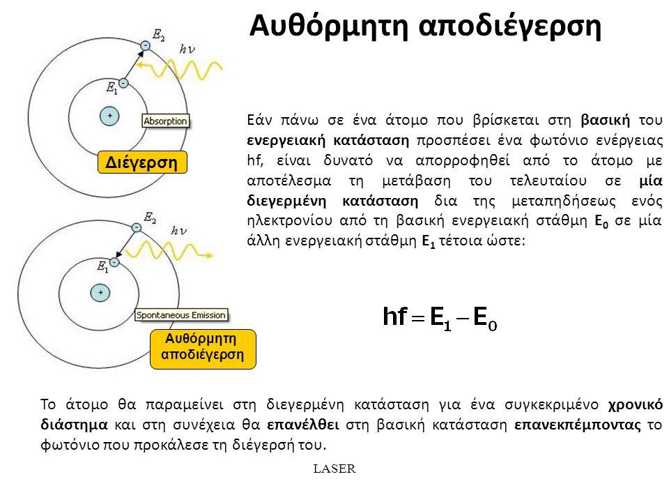 LASER Αυθόρμητη αποδιέγερση Διέγερση Αυθόρμητη αποδιέγερση Εάν πάνω σε ένα άτομο που βρίσκεται στη βασική του ενεργειακή κατάσταση προσπέσει ένα φωτόνιο ενέργειας hf, είναι δυνατό να απορροφηθεί από το άτομο με αποτέλεσμα τη μετάβαση του τελευταίου σε μία διεγερμένη κατάσταση δια της μεταπηδήσεως ενός ηλεκτρονίου από τη βασική ενεργειακή στάθμη Ε 0 σε μία άλλη ενεργειακή στάθμη Ε 1 τέτοια ώστε: Το άτομο θα παραμείνει στη διεγερμένη κατάσταση για ένα συγκεκριμένο χρονικό διάστημα και στη συνέχεια θα επανέλθει στη βασική κατάσταση επανεκπέμποντας το φωτόνιο που προκάλεσε τη διέγερσή του.