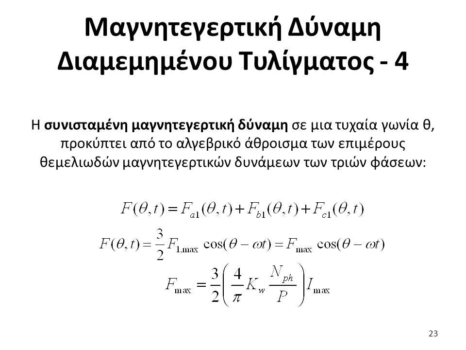 Μαγνητεγερτική Δύναμη Διαμεμημένου Τυλίγματος - 4 23 Η συνισταμένη μαγνητεγερτική δύναμη σε μια τυχαία γωνία θ, προκύπτει από το αλγεβρικό άθροισμα των επιμέρους θεμελιωδών μαγνητεγερτικών δυνάμεων των τριών φάσεων: