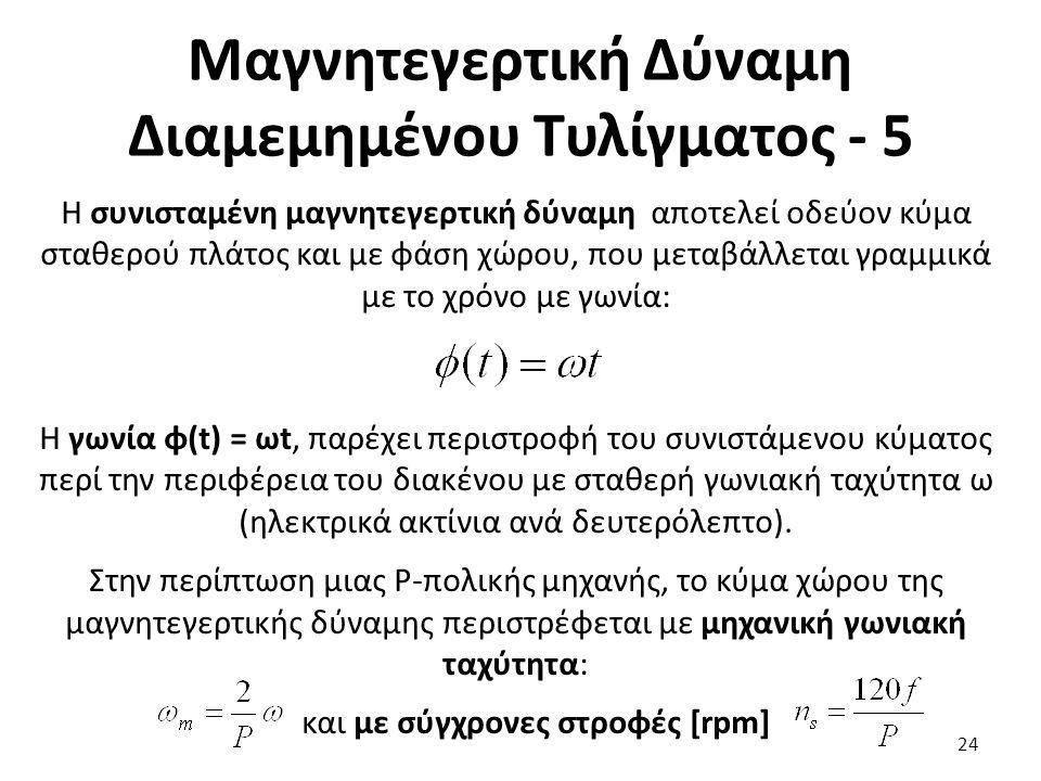 Μαγνητεγερτική Δύναμη Διαμεμημένου Τυλίγματος - 5 24 Η συνισταμένη μαγνητεγερτική δύναμη αποτελεί οδεύον κύμα σταθερού πλάτος και με φάση χώρου, που μεταβάλλεται γραμμικά με το χρόνο με γωνία: H γωνία φ(t) = ωt, παρέχει περιστροφή του συνιστάμενου κύματος περί την περιφέρεια του διακένου με σταθερή γωνιακή ταχύτητα ω (ηλεκτρικά ακτίνια ανά δευτερόλεπτο).