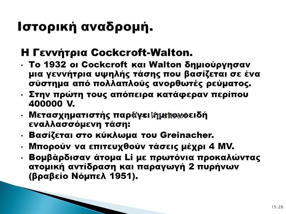Η Γεννήτρια Cockcroft-Walton. Το 1932 οι Cockcroft και Walton δημιούργησαν μια γεννήτρια υψηλής τάσης που βασίζεται σε ένα σύστημα από πολλαπλούς ανορ