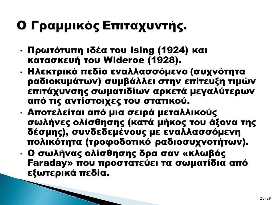 Πρωτότυπη ιδέα του Ising (1924) και κατασκευή του Wideroe (1928). Ηλεκτρικό πεδίο εναλλασσόμενο (συχνότητα ραδιοκυμάτων) συμβάλλει στην επίτευξη τιμών