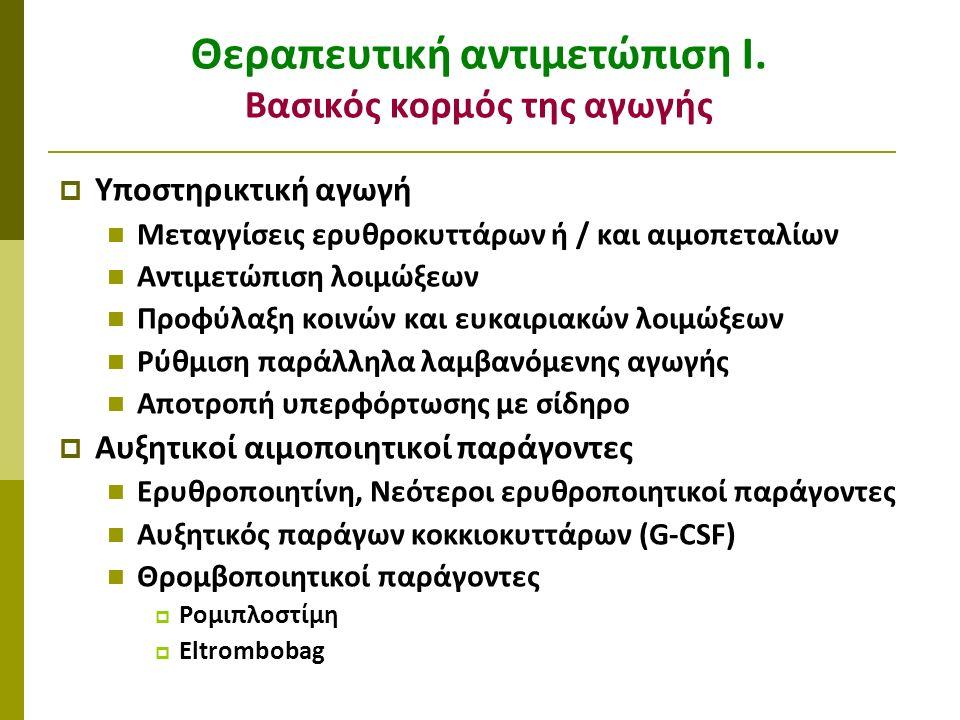 Θεραπευτική αντιμετώπιση Ι. Βασικός κορμός της αγωγής  Υποστηρικτική αγωγή Μεταγγίσεις ερυθροκυττάρων ή / και αιμοπεταλίων Αντιμετώπιση λοιμώξεων Προ