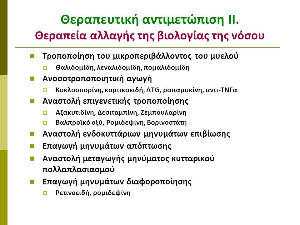 Τροποποίηση του μικροπεριβάλλοντος του μυελού  Θαλιδομίδη, λεναλιδομίδη, πομαλιδομίδη Ανοσοτροποποιητική αγωγή  Κυκλοσπορίνη, κορτικοειδή, ATG, ραπα