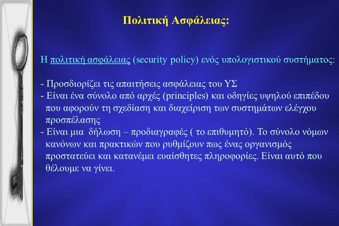 Πολιτική Ασφάλειας: Η πολιτική ασφάλειας (security policy) ενός υπολογιστικού συστήματος: - Προσδιορίζει τις απαιτήσεις ασφάλειας του ΥΣ - Eίναι ένα σύνολο από αρχές (principles) και οδηγίες υψηλού επιπέδου που αφορούν τη σχεδίαση και διαχείριση των συστημάτων ελέγχου προσπέλασης - Eίναι μια δήλωση – προδιαγραφές ( το επιθυμητό).