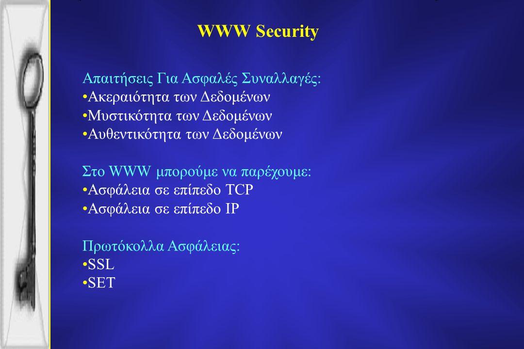 WWW Security Απαιτήσεις Για Ασφαλές Συναλλαγές: Ακεραιότητα των Δεδομένων Μυστικότητα των Δεδομένων Αυθεντικότητα των Δεδομένων Στο WWW μπορούμε να παρέχουμε: Ασφάλεια σε επίπεδο TCP Ασφάλεια σε επίπεδο IP Πρωτόκολλα Ασφάλειας: SSL SET