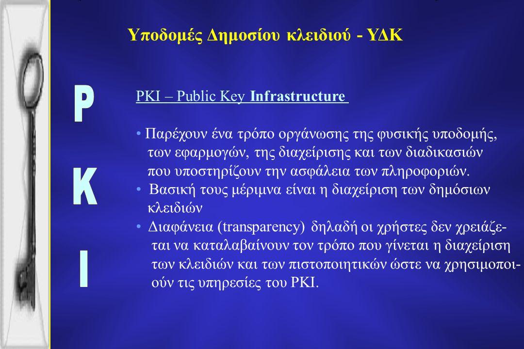 Υποδομές Δημοσίου κλειδιού - ΥΔΚ PKI – Public Key Infrastructure Παρέχουν ένα τρόπο οργάνωσης της φυσικής υποδομής, των εφαρμογών, της διαχείρισης και των διαδικασιών που υποστηρίζουν την ασφάλεια των πληροφοριών.