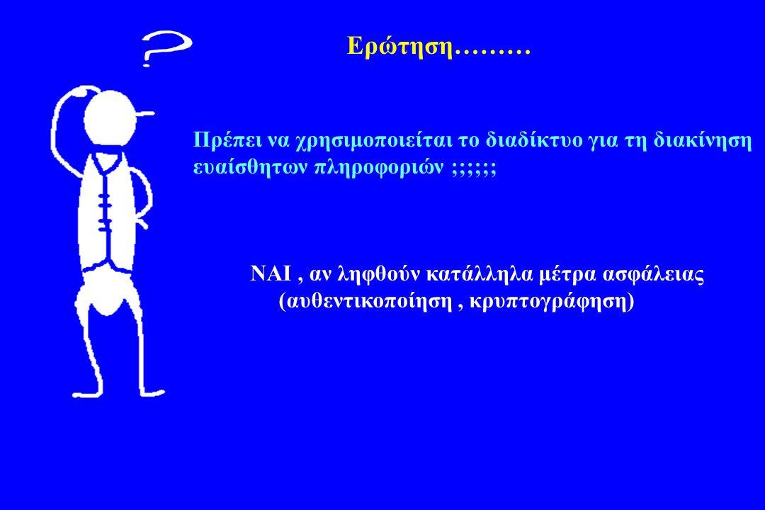 Ερώτηση……… Πρέπει να χρησιμοποιείται το διαδίκτυο για τη διακίνηση ευαίσθητων πληροφοριών ;;;;;; ΝΑΙ, αν ληφθούν κατάλληλα μέτρα ασφάλειας (αυθεντικοποίηση, κρυπτογράφηση)
