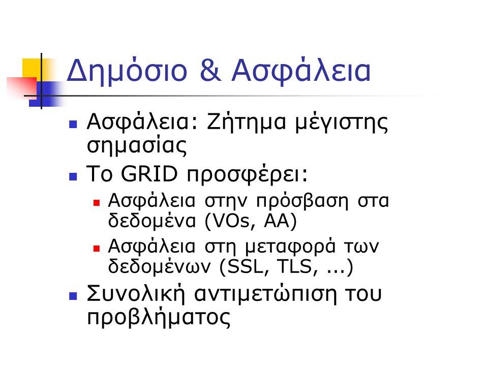 Δημόσιο & Ασφάλεια Ασφάλεια: Ζήτημα μέγιστης σημασίας Το GRID προσφέρει: Ασφάλεια στην πρόσβαση στα δεδομένα (VOs, AA) Ασφάλεια στη μεταφορά των δεδομ