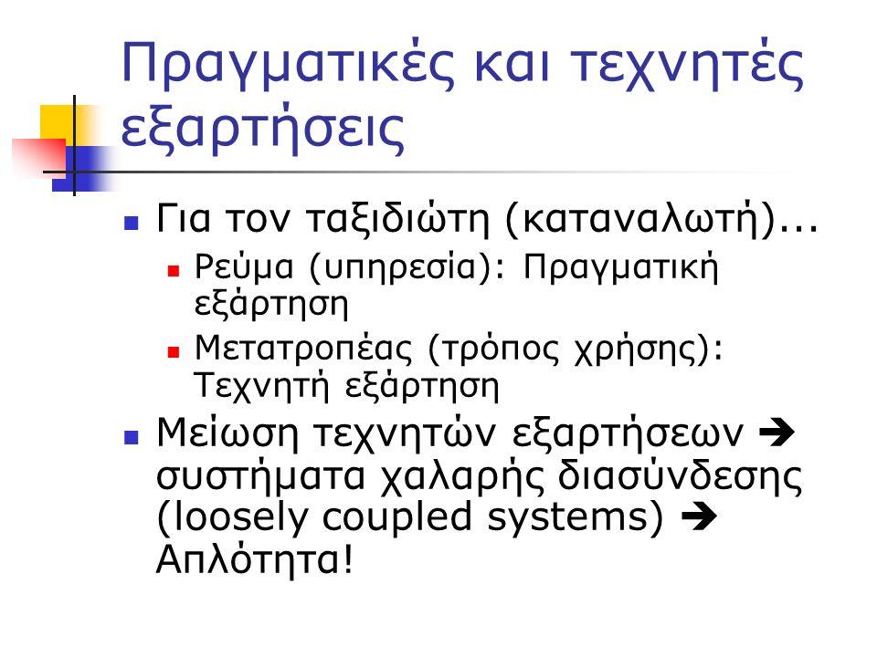 Πραγματικές και τεχνητές εξαρτήσεις Για τον ταξιδιώτη (καταναλωτή)... Ρεύμα (υπηρεσία): Πραγματική εξάρτηση Μετατροπέας (τρόπος χρήσης): Τεχνητή εξάρτ