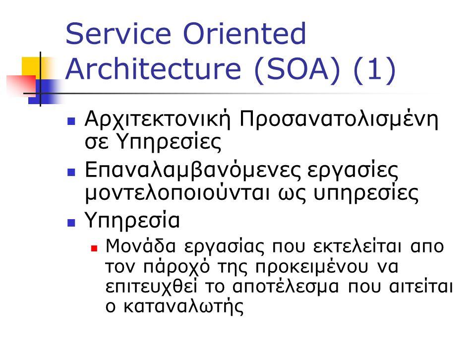 Service Oriented Architecture (SOA) (1) Αρχιτεκτονική Προσανατολισμένη σε Υπηρεσίες Επαναλαμβανόμενες εργασίες μοντελοποιούνται ως υπηρεσίες Υπηρεσία Μονάδα εργασίας που εκτελείται απο τον πάροχό της προκειμένου να επιτευχθεί το αποτέλεσμα που αιτείται ο καταναλωτής