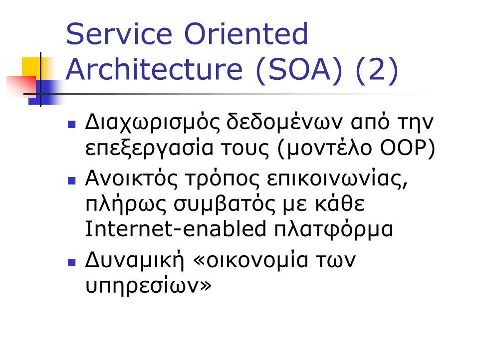 Service Oriented Architecture (SOA) (2) Διαχωρισμός δεδομένων από την επεξεργασία τους (μοντέλο OOP) Ανοικτός τρόπος επικοινωνίας, πλήρως συμβατός με κάθε Internet-enabled πλατφόρμα Δυναμική «οικονομία των υπηρεσίων»