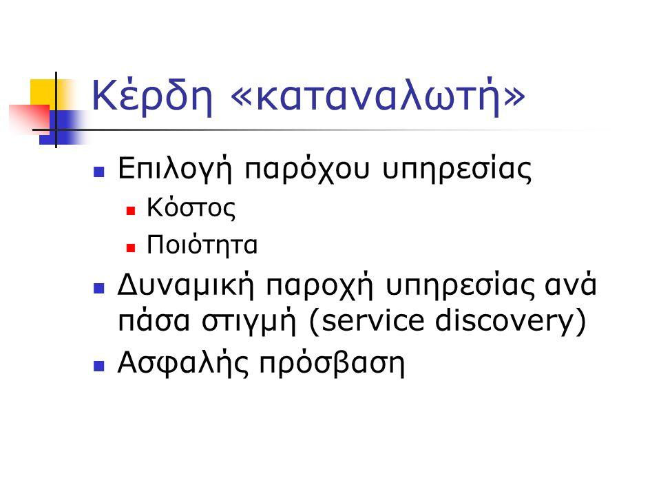 Κέρδη «καταναλωτή» Επιλογή παρόχου υπηρεσίας Κόστος Ποιότητα Δυναμική παροχή υπηρεσίας ανά πάσα στιγμή (service discovery) Ασφαλής πρόσβαση