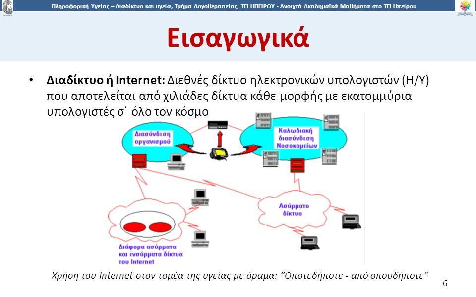 6 Πληροφορική Υγείας – Διαδίκτυο και υγεία, Τμήμα Λογοθεραπείας, ΤΕΙ ΗΠΕΙΡΟΥ - Ανοιχτά Ακαδημαϊκά Μαθήματα στο ΤΕΙ Ηπείρου Εισαγωγικά 6 Διαδίκτυο ή Internet: Διεθνές δίκτυο ηλεκτρονικών υπολογιστών (Η/Υ) που αποτελείται από χιλιάδες δίκτυα κάθε μορφής με εκατομμύρια υπολογιστές σ΄ όλο τον κόσμο Χρήση του Internet στον τομέα της υγείας με όραμα: Οποτεδήποτε - από οπουδήποτε