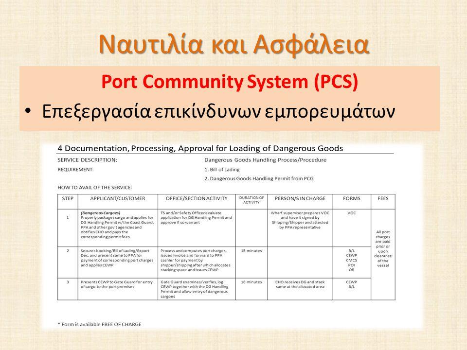 Ναυτιλία και Ασφάλεια Port Community System (PCS) Επεξεργασία επικίνδυνων εμπορευμάτων