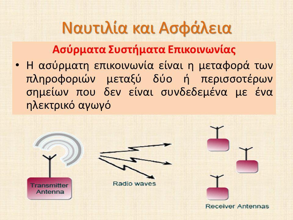 Ναυτιλία και Ασφάλεια Ασύρματα Συστήματα Επικοινωνίας Η ασύρματη επικοινωνία είναι η μεταφορά των πληροφοριών μεταξύ δύο ή περισσοτέρων σημείων που δεν είναι συνδεδεμένα με ένα ηλεκτρικό αγωγό