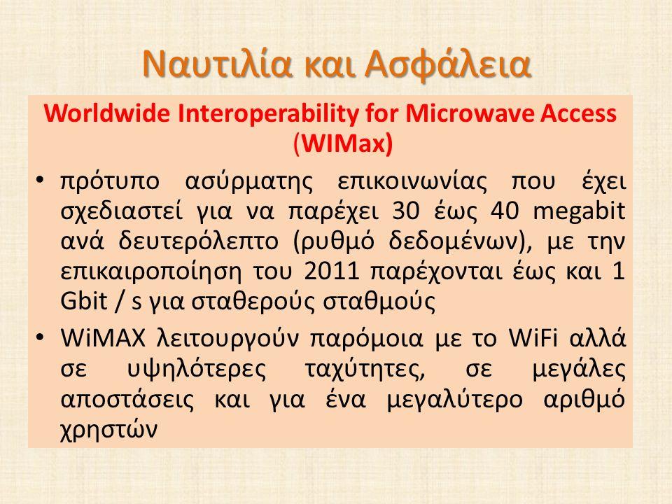 Ναυτιλία και Ασφάλεια Worldwide Interoperability for Microwave Access (WIMax) πρότυπο ασύρματης επικοινωνίας που έχει σχεδιαστεί για να παρέχει 30 έως 40 megabit ανά δευτερόλεπτο (ρυθμό δεδομένων), με την επικαιροποίηση του 2011 παρέχονται έως και 1 Gbit / s για σταθερούς σταθμούς WiMAX λειτουργούν παρόμοια με το WiFi αλλά σε υψηλότερες ταχύτητες, σε μεγάλες αποστάσεις και για ένα μεγαλύτερο αριθμό χρηστών