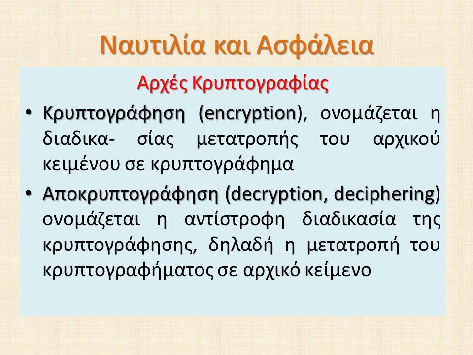 Ναυτιλία και Ασφάλεια Αρχές Κρυπτογραφίας Κρυπτογράφηση (encryption Κρυπτογράφηση (encryption), ονοµάζεται η διαδικα- σίας µετατροπής του αρχικού κειµένου σε κρυπτογράφηµα Αποκρυπτογράφηση (decryption, deciphering Αποκρυπτογράφηση (decryption, deciphering) ονοµάζεται η αντίστροφη διαδικασία της κρυπτογράφησης, δηλαδή η µετατροπή του κρυπτογραφήµατος σε αρχικό κείµενο