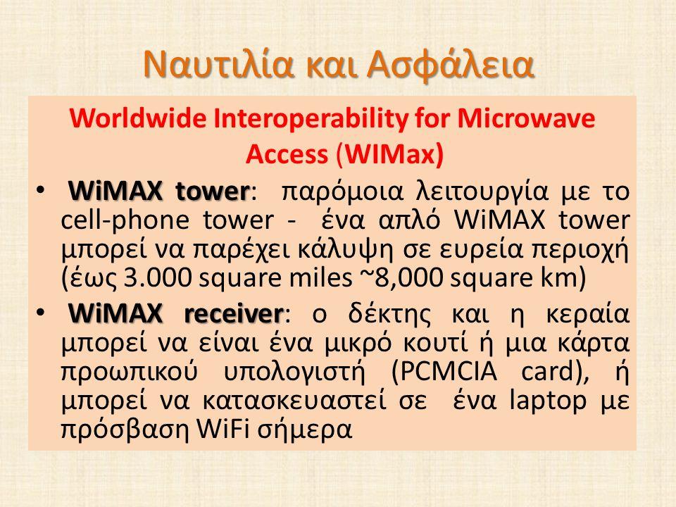 Ναυτιλία και Ασφάλεια Worldwide Interoperability for Microwave Access (WIMax) WiMAX tower WiMAX tower: παρόμοια λειτουργία με το cell-phone tower - ένα απλό WiMAX tower μπορεί να παρέχει κάλυψη σε ευρεία περιοχή (έως 3.000 square miles ~8,000 square km) WiMAX receiver WiMAX receiver: ο δέκτης και η κεραία μπορεί να είναι ένα μικρό κουτί ή μια κάρτα προωπικού υπολογιστή (PCMCIA card), ή μπορεί να κατασκευαστεί σε ένα laptop με πρόσβαση WiFi σήμερα