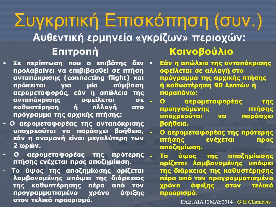 Συγκριτική Επισκόπηση (συν.) Αυθεντική ερμηνεία «γκρίζων» περιοχών: Επιτροπή Σε περίπτωση που ο επιβάτης δεν προλαβαίνει να επιβιβασθεί σε πτήση ανταπ
