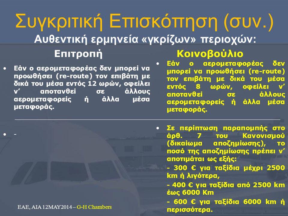 Συγκριτική Επισκόπηση (συν.) Αυθεντική ερμηνεία «γκρίζων» περιοχών: Επιτροπή Εάν ο αερομεταφορέας δεν μπορεί να προωθήσει (re-route) τον επιβάτη με δι