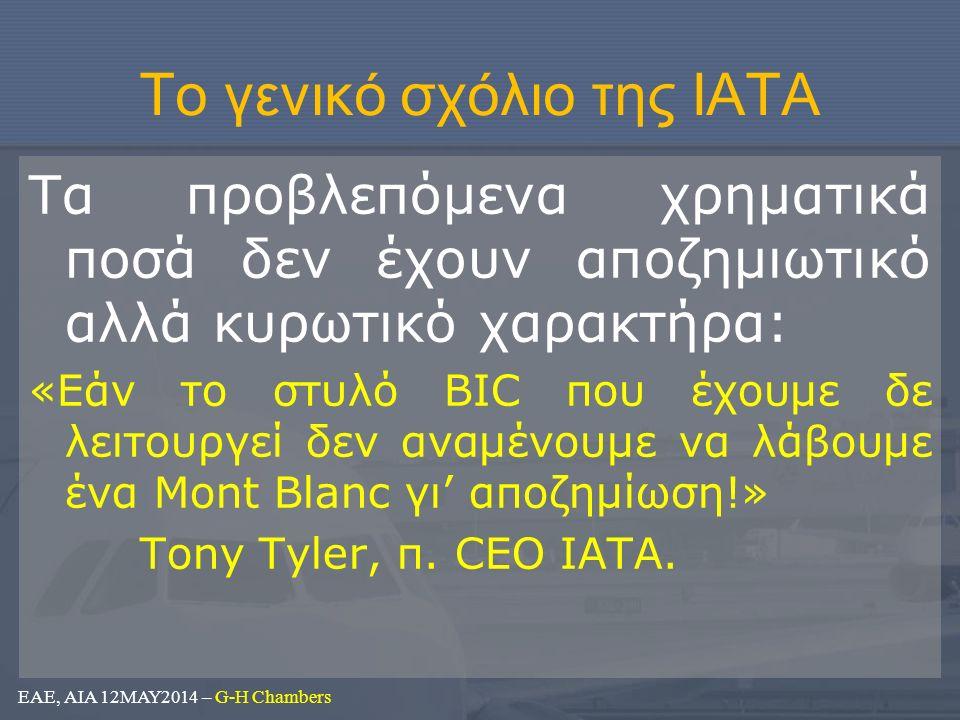 Το γενικό σχόλιο της ΙΑΤΑ Τα προβλεπόμενα χρηματικά ποσά δεν έχουν αποζημιωτικό αλλά κυρωτικό χαρακτήρα: «Εάν το στυλό BIC που έχουμε δε λειτουργεί δεν αναμένουμε να λάβουμε ένα Mont Blanc γι' αποζημίωση!» Tony Tyler, π.