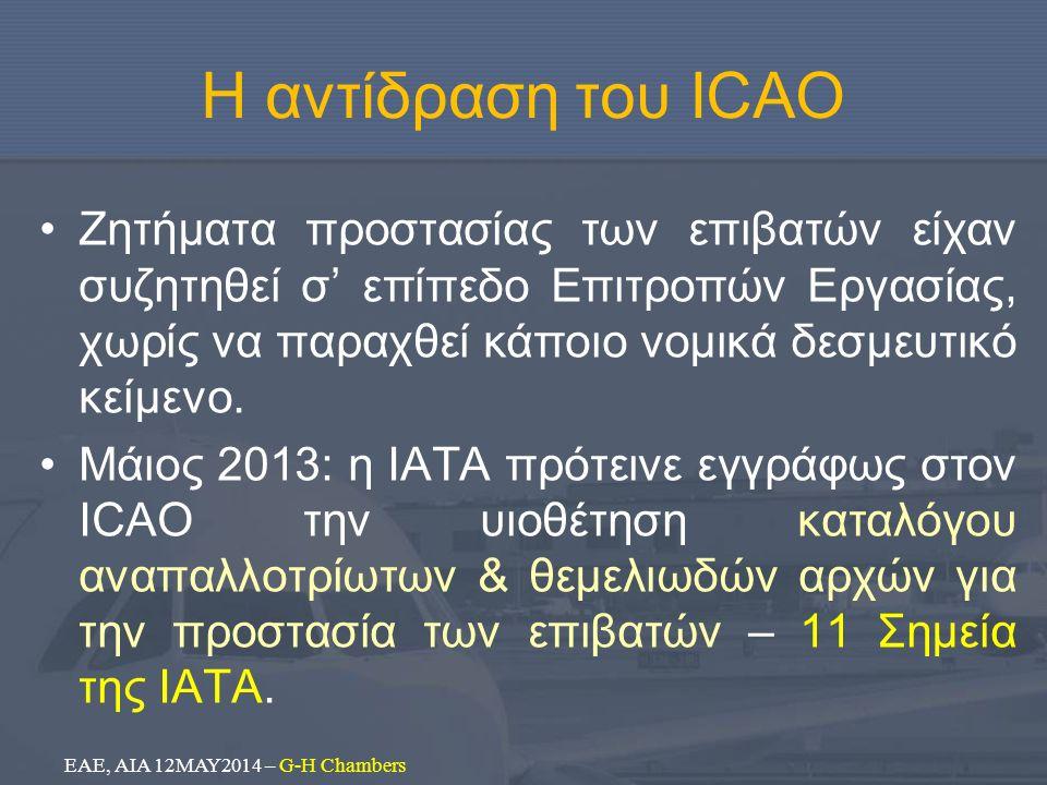 Η αντίδραση του ICAO Ζητήματα προστασίας των επιβατών είχαν συζητηθεί σ' επίπεδο Επιτροπών Εργασίας, χωρίς να παραχθεί κάποιο νομικά δεσμευτικό κείμεν