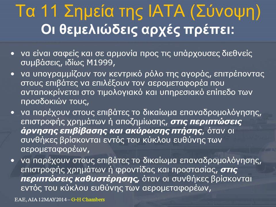 Τα 11 Σημεία της ΙΑΤΑ (Σύνοψη) Οι θεμελιώδεις αρχές πρέπει: να είναι σαφείς και σε αρμονία προς τις υπάρχουσες διεθνείς συμβάσεις, ιδίως Μ1999, να υπογραμμίζουν τον κεντρικό ρόλο της αγοράς, επιτρέποντας στους επιβάτες να επιλέξουν τον αερομεταφορέα που ανταποκρίνεται στο τιμολογιακό και υπηρεσιακό επίπεδο των προσδοκιών τους, να παρέχουν στους επιβάτες το δικαίωμα επαναδρομολόγησης, επιστροφής χρημάτων ή αποζημίωσης, στις περιπτώσεις άρνησης επιβίβασης και ακύρωσης πτήσης, όταν οι συνθήκες βρίσκονται εντός του κύκλου ευθύνης των αερομεταφορέων, να παρέχουν στους επιβάτες το δικαίωμα επαναδρομολόγησης, επιστροφής χρημάτων ή φροντίδας και προστασίας, στις περιπτώσεις καθυστέρησης, όταν οι συνθήκες βρίσκονται εντός του κύκλου ευθύνης των αερομεταφορέων, ΕΑΕ, ΑΙΑ 12ΜΑΥ2014 – G-H Chambers
