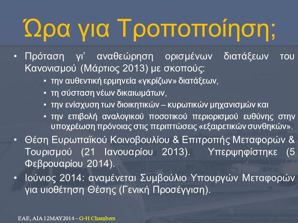 Ώρα για Τροποποίηση; Πρόταση γι' αναθεώρηση ορισμένων διατάξεων του Κανονισμού (Μάρτιος 2013) με σκοπούς: την αυθεντική ερμηνεία «γκρίζων» διατάξεων, τη σύσταση νέων δικαιωμάτων, την ενίσχυση των διοικητικών – κυρωτικών μηχανισμών και την επιβολή αναλογικού ποσοτικού περιορισμού ευθύνης στην υποχρέωση πρόνοιας στις περιπτώσεις «εξαιρετικών συνθηκών».