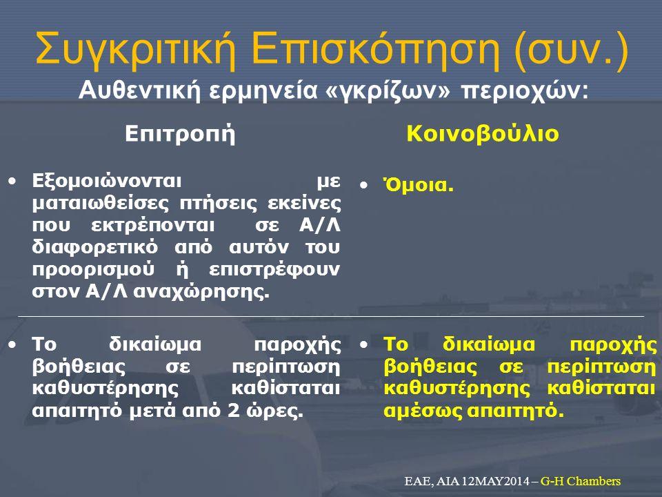 Συγκριτική Επισκόπηση (συν.) Αυθεντική ερμηνεία «γκρίζων» περιοχών: Επιτροπή Η υποχρέωση πρόνοιας καλύπτει και τις περιπτώσεις βλάβης του τάπητα του Α/Λ (αναψυκτικά, κλιματισμός, ιατρική φροντίδα, χρήση WC) και συνοδεύεται από δικαίωμα αποβίβασης των επιβατών σε περίπτωση καθυστέρησης πάνω από 5 ώρες.