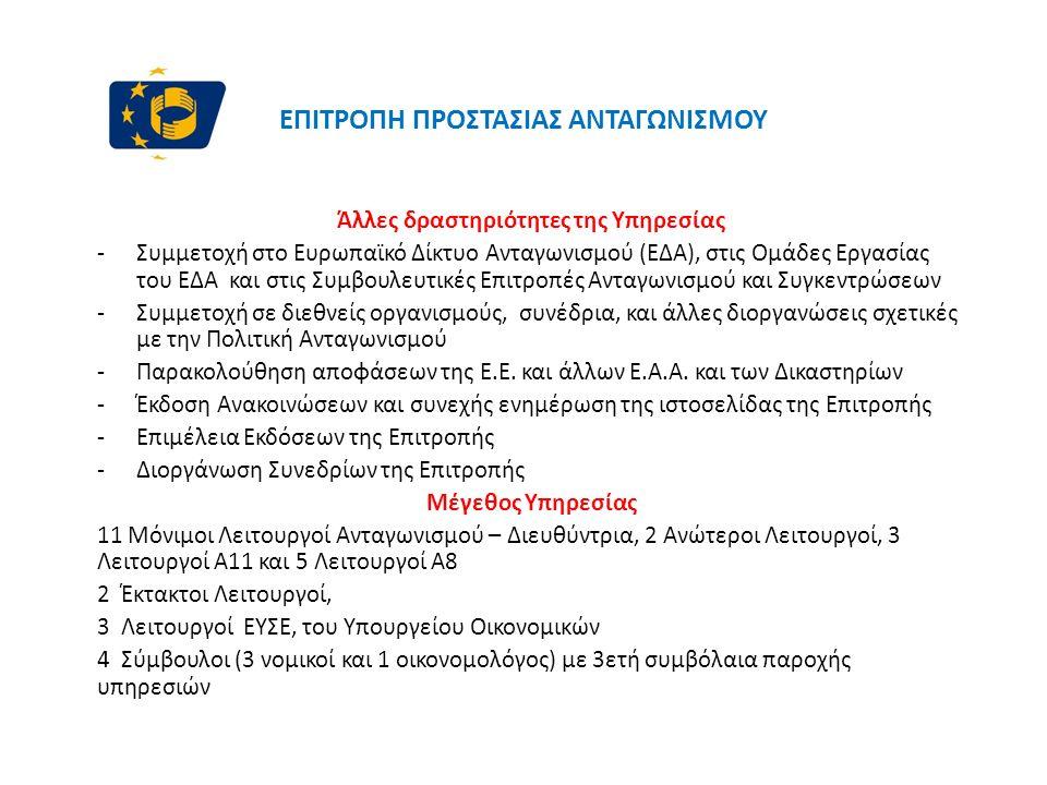 ΕΠΙΤΡΟΠΗ ΠΡΟΣΤΑΣΙΑΣ ΑΝΤΑΓΩΝΙΣΜΟΥ Άλλες δραστηριότητες της Υπηρεσίας -Συμμετοχή στο Ευρωπαϊκό Δίκτυο Ανταγωνισμού (ΕΔΑ), στις Ομάδες Εργασίας του ΕΔΑ και στις Συμβουλευτικές Επιτροπές Ανταγωνισμού και Συγκεντρώσεων -Συμμετοχή σε διεθνείς οργανισμούς, συνέδρια, και άλλες διοργανώσεις σχετικές με την Πολιτική Ανταγωνισμού -Παρακολούθηση αποφάσεων της Ε.Ε.