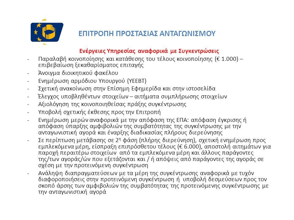 ΕΠΙΤΡΟΠΗ ΠΡΟΣΤΑΣΙΑΣ ΑΝΤΑΓΩΝΙΣΜΟΥ Ενέργειες Υπηρεσίας αναφορικά με Συγκεντρώσεις -Παραλαβή κοινοποίησης και κατάθεσης του τέλους κοινοποίησης (€ 1.000) – επιβεβαίωση ξεκαθαρίσματος επιταγής -Άνοιγμα διοικητικού φακέλου -Ενημέρωση αρμόδιου Υπουργού (ΥΕΕΒΤ) -Σχετική ανακοίνωση στην Επίσημη Εφημερίδα και στην ιστοσελίδα -Έλεγχος υποβληθέντων στοιχείων – αιτήματα συμπλήρωσης στοιχείων -Αξιολόγηση της κοινοποιηθείσας πράξης συγκέντρωσης -Υποβολή σχετικής έκθεσης προς την Επιτροπή -Ενημέρωση μερών αναφορικά με την απόφαση της ΕΠΑ: απόφαση έγκρισης ή απόφαση ύπαρξης αμφιβολιών της συμβατότητας της συγκέντρωσης με την ανταγωνιστική αγορά και έναρξης διαδικασίας πλήρους διερεύνησης -Σε περίπτωση μετάβασης σε 2 η φάση (πλήρης διερεύνηση), σχετική ενημέρωση προς εμπλεκόμενα μέρη, είσπραξη επιπρόσθετου τέλους (€ 6.000), αποστολή αιτημάτων για παροχή περαιτέρω στοιχείων από τα εμπλεκόμενα μέρη και άλλους παράγοντες της/των αγοράς/ών που εξετάζονται και / ή απόψεις από παράγοντες της αγοράς σε σχέση με την προτεινόμενη συγκέντρωση -Ανάληψη διαπραγματεύσεων με τα μέρη της συγκέντρωσης αναφορικά με τυχόν διαφοροποιήσεις στην προτεινόμενη συγκέντρωση ή υποβολή δεσμεύσεων προς τον σκοπό άρσης των αμφιβολιών της συμβατότητας της προτεινόμενης συγκέντρωσης με την ανταγωνιστική αγορά