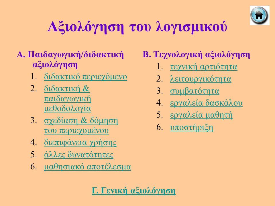Αξιολόγηση του λογισμικού Α. Παιδαγωγική/διδακτική αξιολόγηση 1.διδακτικό περιεχόμενοδιδακτικό περιεχόμενο 2.διδακτική & παιδαγωγική μεθοδολογίαδιδακτ