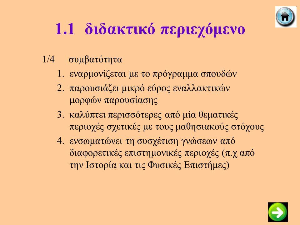 1.1διδακτικό περιεχόμενο 1/4συμβατότητα 1.εναρμονίζεται με το πρόγραμμα σπουδών 2.παρουσιάζει μικρό εύρος εναλλακτικών μορφών παρουσίασης 3.καλύπτει π