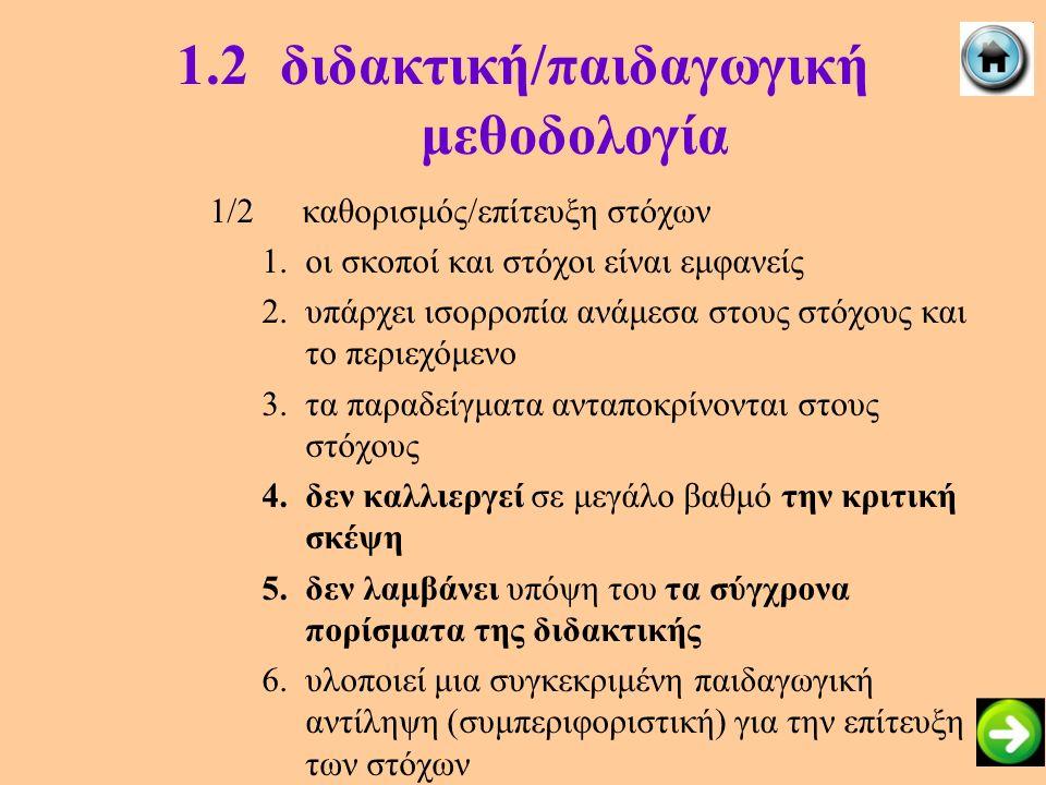 1.2διδακτική/παιδαγωγική μεθοδολογία 1/2καθορισμός/επίτευξη στόχων 1.οι σκοποί και στόχοι είναι εμφανείς 2.υπάρχει ισορροπία ανάμεσα στους στόχους και