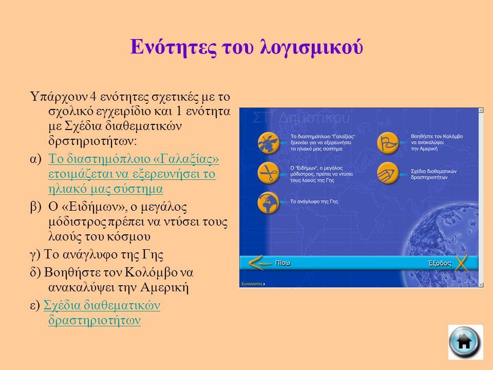Ενότητες του λογισμικού Υπάρχουν 4 ενότητες σχετικές με το σχολικό εγχειρίδιο και 1 ενότητα με Σχέδια διαθεματικών δρστηριοτήτων: α)Το διαστημόπλοιο «