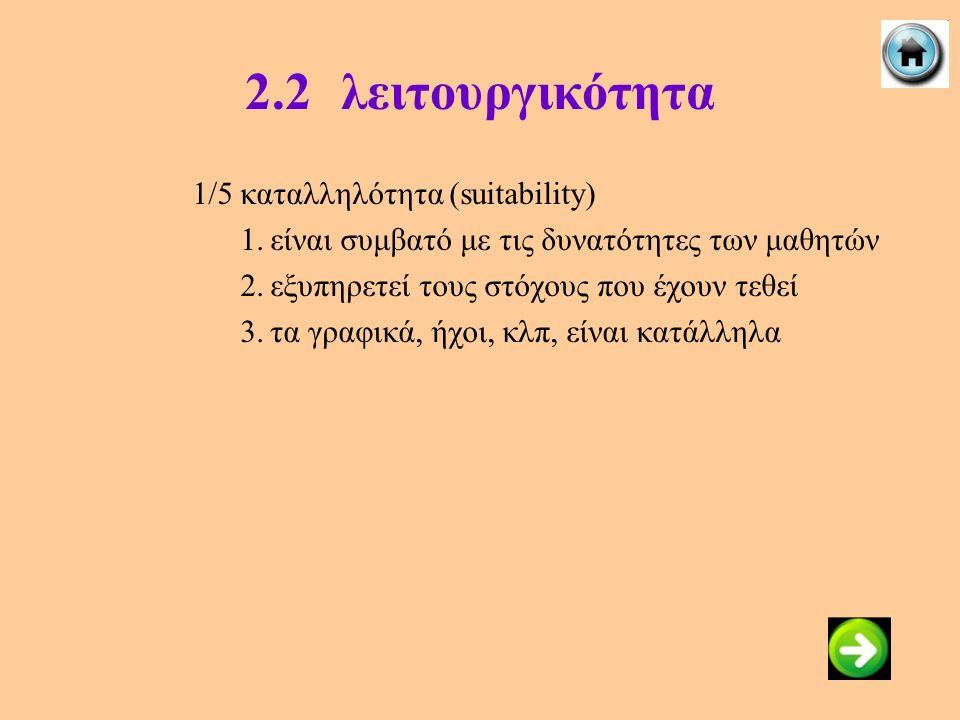 2.2λειτουργικότητα 1/5καταλληλότητα (suitability) 1.είναι συμβατό με τις δυνατότητες των μαθητών 2.εξυπηρετεί τους στόχους που έχουν τεθεί 3.τα γραφικ